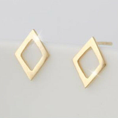 TPD Solid 14K Yellow Gold Rhombus Shape Stud a Pair of Earrings & Silicone plugs
