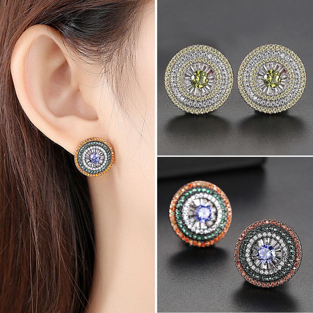 Indian Multicolor Zircon Rhinestone Women Ear Stud Earrings