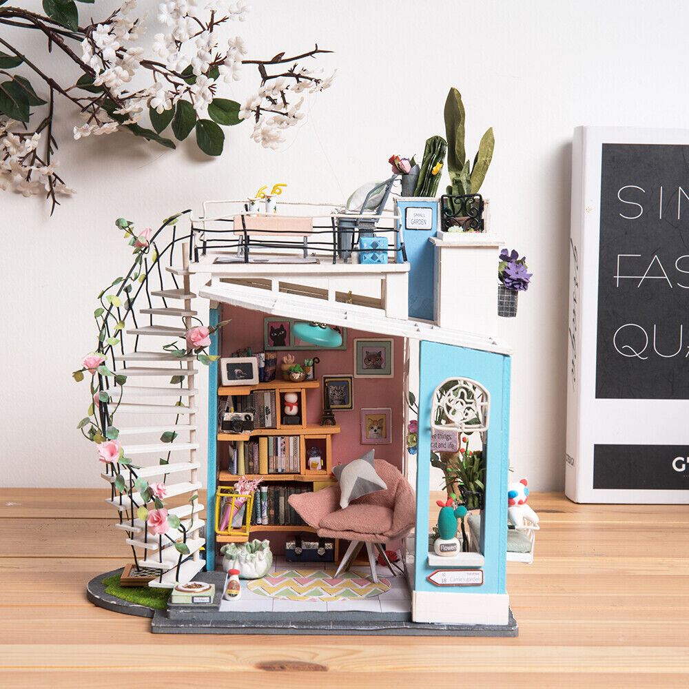 Rolife Wooden Dollhouse for Girl Loft Room with Miniature Furniture Spiral Stair
