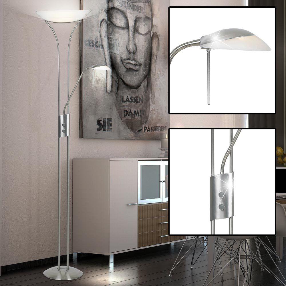 Luxus Steh Stand Leuchte dimmbar Flexo Lese Decken Fluter Bibliothek Nickel Glas