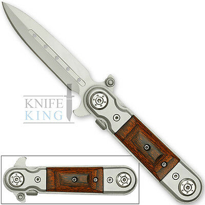 Gentlemans Tactical Classic Italian Style Spring Assisted Knife Wood Grips Sharp