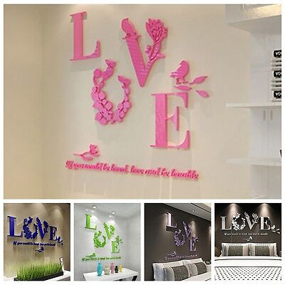3D Mirror Wall Stickers Love Flower Art Quote Decal Home Kitchen Bathroom Decor