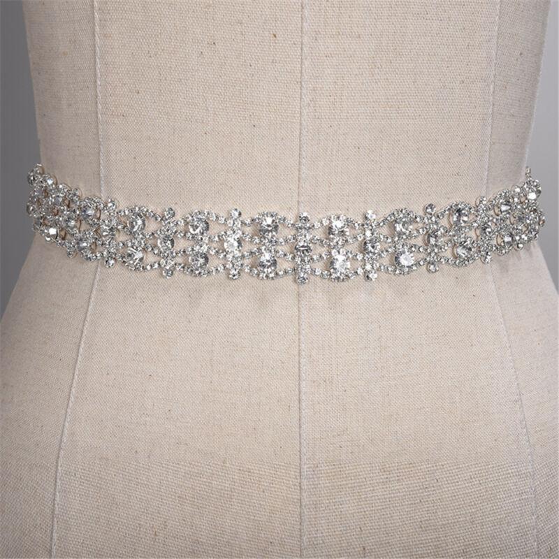Bridal Wedding Belt Sash Rhinestone Crystal Accessories Waistband With Ribbon
