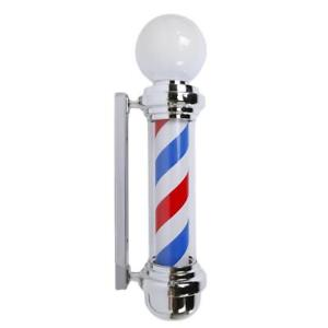 Metal Hair Salon Shop Sign Barber Pole LED Light Blue White Red Stripes Rotating - BRAND NEW - FREE SHIPPING