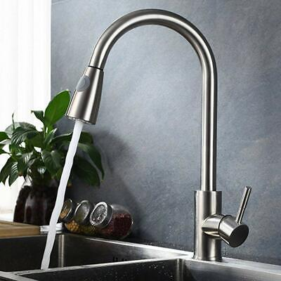Kitchen Single Hole Sink Faucet Pull Down Spray Brushed Nickel Mixer Filler Taps
