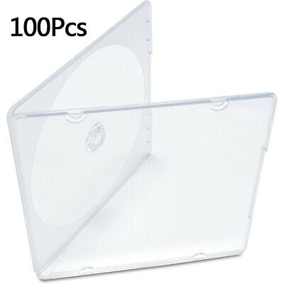 100 Slim Single Clear PP Poly CD DVD Jewel Cases Disc Replacement Cover Plastic