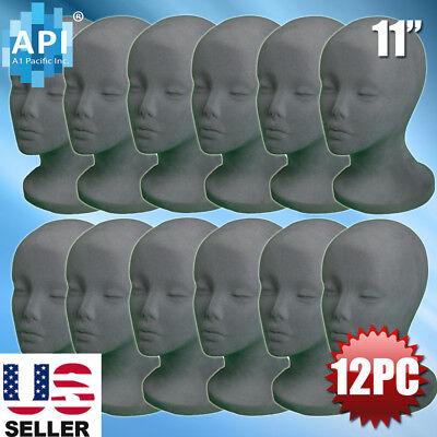 Gray Styrofoam Foam Mannequin Wig Head Display Hat Cap Wig Holder Grey 12pc