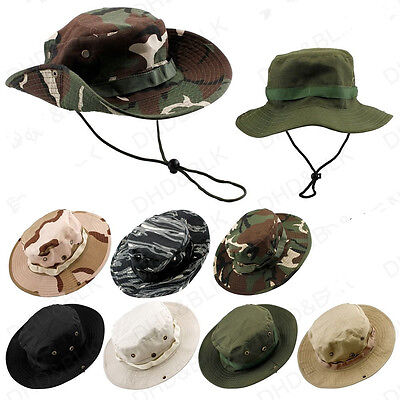 New Hat Boonie Hunting Fishing Outdoor Men Cap Washed Cotton With Strings Qw
