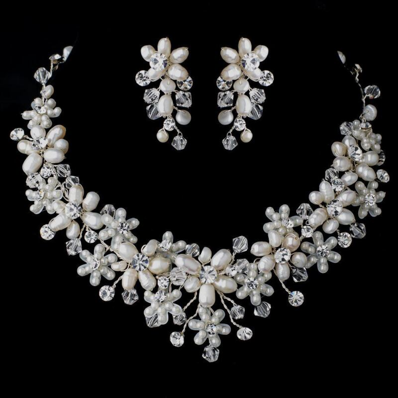 Silver Pearl & Crystal, Floral Wedding Bridal Jewelry Set, Necklace & Earring