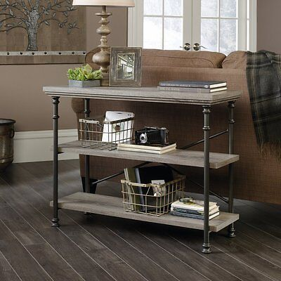Behind Sofa Table Couch Console With Storage Shelves Rustic Industrial Furniture ()