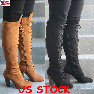 Womens Winter Thigh High Boots Lace Up Over Knee Boot Zipper Stretch Shoes Size