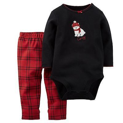 Carter's USA 62-68 Langarmbody+Legging 2 tlg schwarz rot Baumwolle Baby ~ Kombi