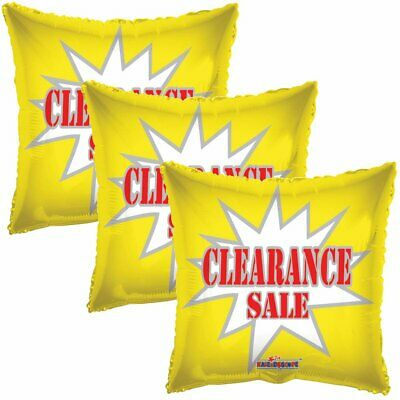3 pc Yellow Clearance Square Store Promotional Foil Balloon Sale Re-Usable - Balloon Stores