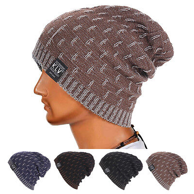 UOMO DONNA CALDO uncinetto inverno maglia di Lana Cappellino da sci Skull