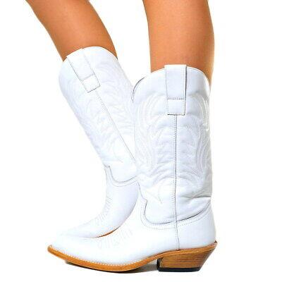 Weiße Leder Western Cowboy Stiefel (Damen Cowboystiefel Westernstiefel Echtleder Wild Boots Weiss Original N1000)