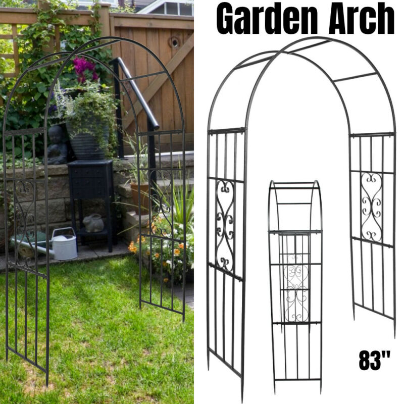 Garden Arbor With Gate Iron Archway Pergola Arch Climbing Plant Trellis Outdoor