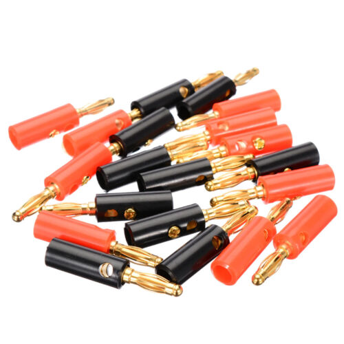 40Pcs Gold Plated Banana Plugs Audio Jack Speaker Wire Cable Screw Connector 4mm Audio Cables & Interconnects