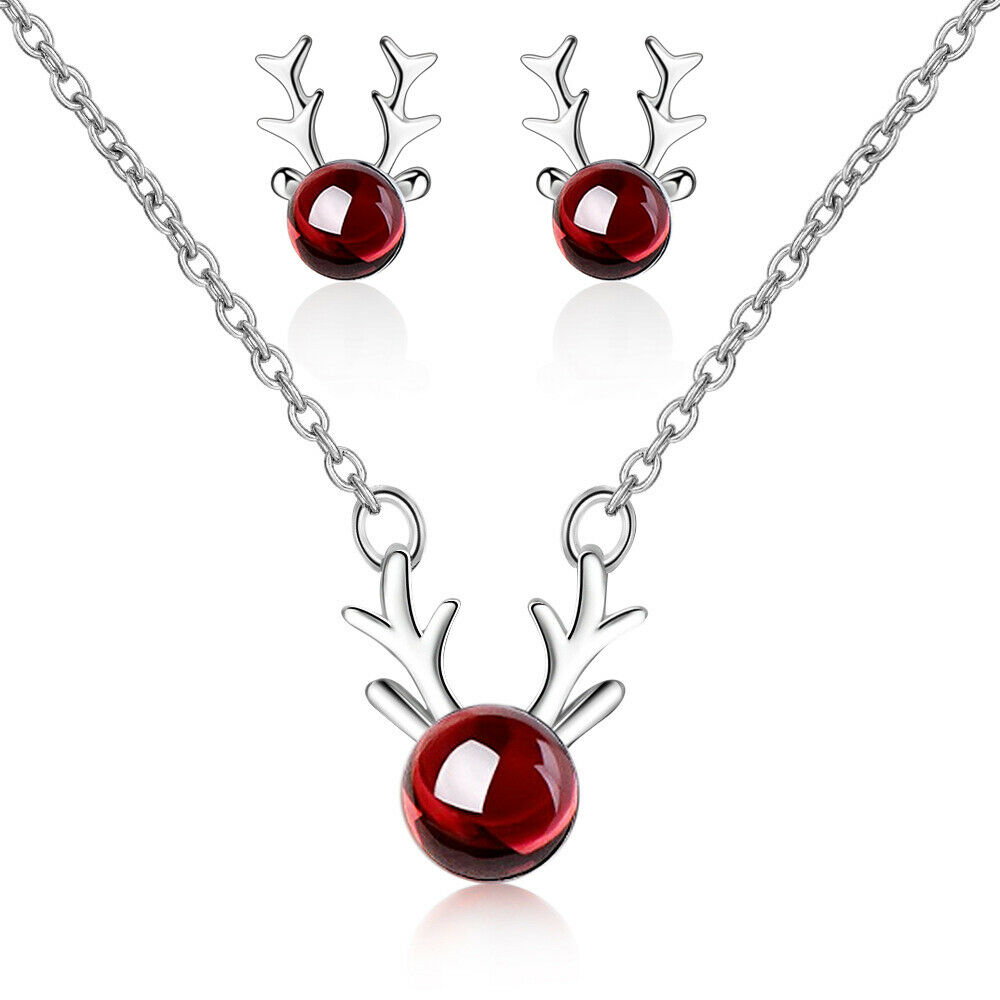 Jewellery - 925 Sterling Silver REINDEER Necklace Stud Earrings Womens Jewellery Xmas