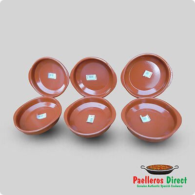Set of 6 x 18cm Spanish Terracotta Tapas Dishes / Cazuelas
