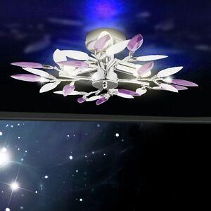 lampadario lilla : Lampadario a Soffitto Lilla con Foglie Cromate Inclusi 3x Faretti LED ...