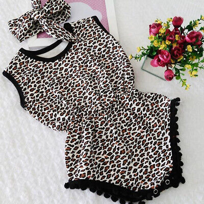 US Newborn Baby Girl Summer Clothes Leopard Romper Jumpsuit Playsuit Outfits Set