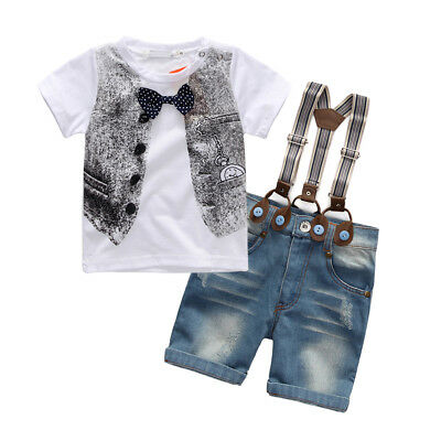New toddler kids boys summer outfits clothes T shirt & Suspenders shorts cool