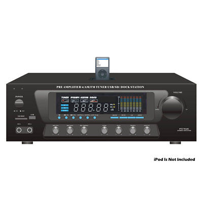 Pyle Home Audio PT270AIU Stereo Amp Receiver With Tuner/Usb/Sd/iPod Dock Station Ipod Docking Station Home Stereo
