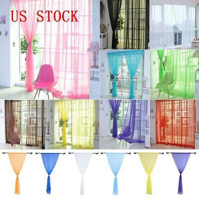 2PCS Pure Color Transparency Door Window Curtain For Living