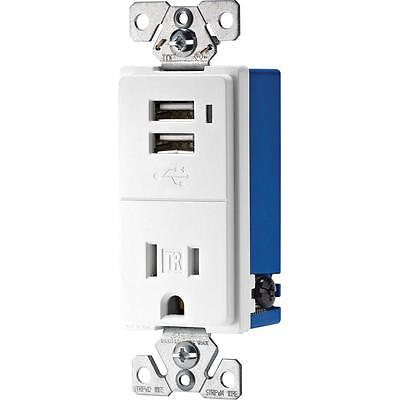 15 Amp 125 Volt Single Receptacle power outlet with Dual Usb Wall Charger Socket