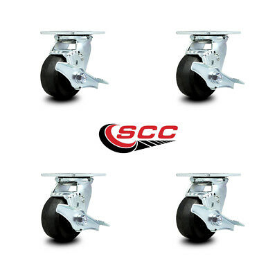 Scc 4 Rubber On Cast Iron Wheel Swivel Casters Wbrakes - Set Of 4