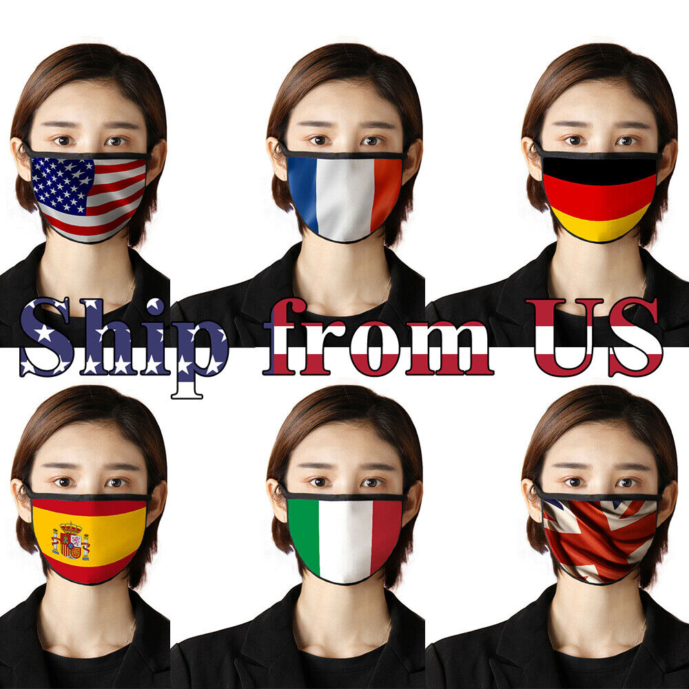 6pcs American National Flag Cotton Masks Set Half Face Mouth Cover USA UK France Accessories