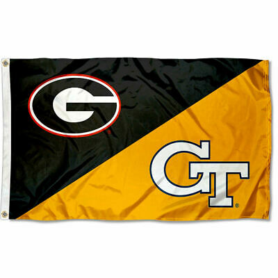 Georgia Tech House Flag (Georgia vs. Georgia Tech House Divided 3x5 Flag Banner)