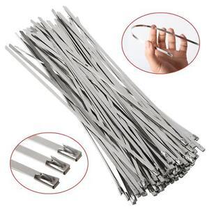 100X Strong Stainless Steel Marine Grade Metal Cable Ties Zip Tie Wraps Exhaust