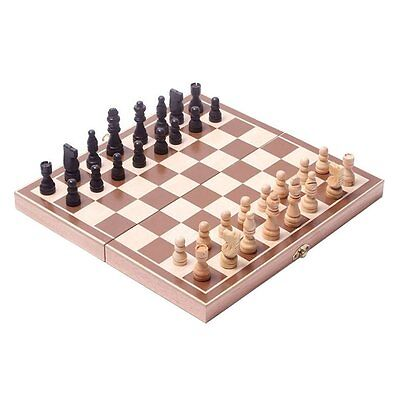 """Chess Set Board Wooden Folding Table Checkers Home Game Portable Play Gift 15"""""""