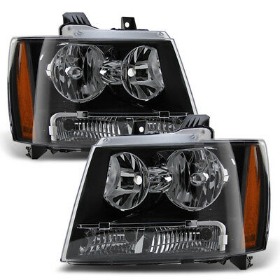 Owner Black 2007-2014 Chevy Tahoe Suburban Avalanche Headlights Lights 07-14 Headlamps