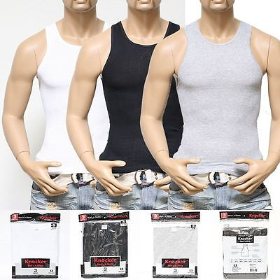 6 Mens Black Wht Tank Top 100  Cotton A Shirt Wife Beater Ribbed Pack Undershirt