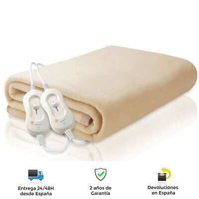 Manta eléctrica calienta camas matrimonio 160 x 140 cm, 60W X2 -...