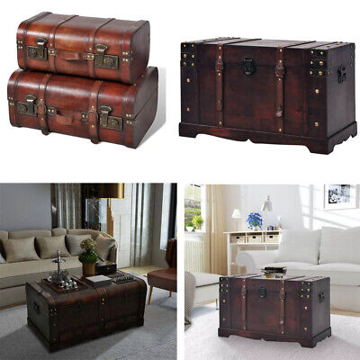 Large Wooden Treasure Chest Trunk Home Furniture Antique Storage Blanket Box US Treasure Box Chest Trunk