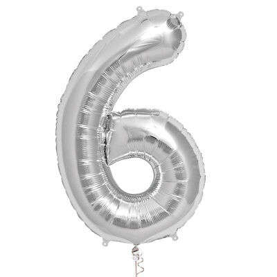 Folienballon Zahl 6 XXL Silber 85 cm Luftballon Helium Deko Geburtstag Nummer 6