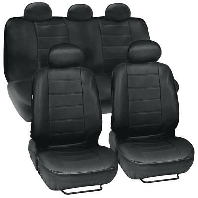 Leather Seat Black Leather - PU Synthetic Leather Black Seat Cover Car Genuine Leather Feel Front & Rear Set