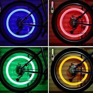 2X-LED-Llanta-casquillo-luz-tapa-de-Neumatico-Tapones-de-valvula-Bicicletas