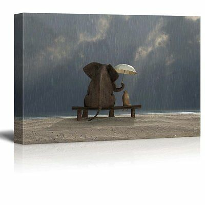 Wall26 - Canvas Prints Wall Art - Elephant and Dog Sit under the Rain- 16