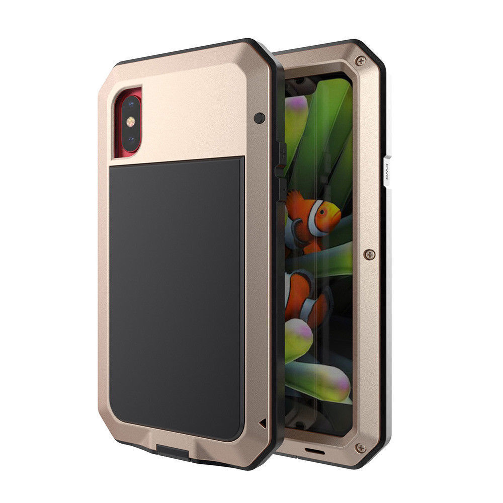 For iPhone X XS 8 6 SE Gorilla Glass Armor Shock Water proof Aluminum Cover Case