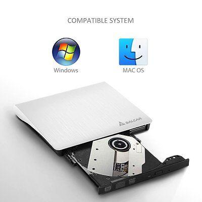 USB3.0 Salcar - Extern DVD RW CD RW Laufwerk DVD Writer für mac & Notebook weiß