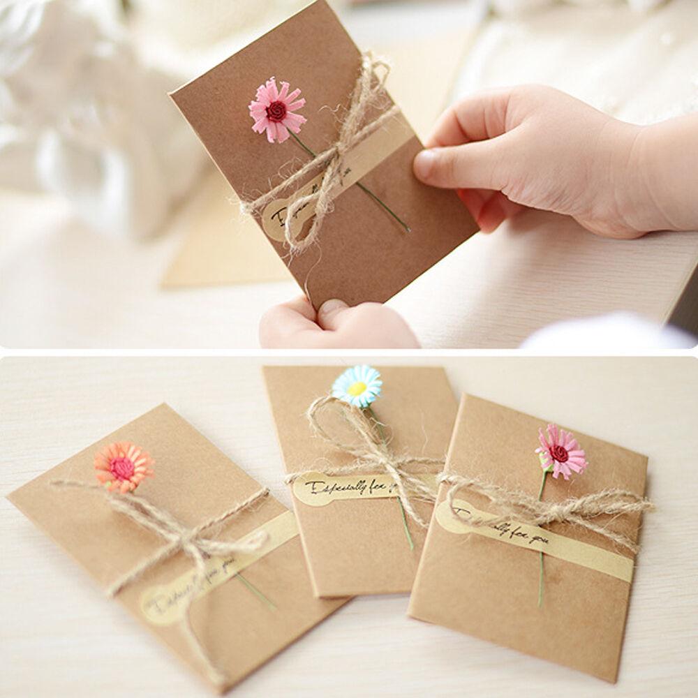 Retro birthday wedding diy flower kraft paper greeting card envelope welcome to tophopeenjoy yourself solutioingenieria Choice Image