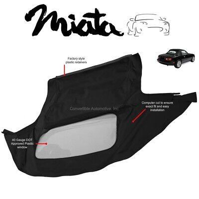 Mazda Miata Convertible Soft Top & Plastic Window 1990-2005 Black Cabrio Haartz