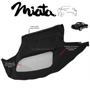 Mazda Miata Convertible Soft Top Plastic Window 1990 2005 Black Cabrio Haartz
