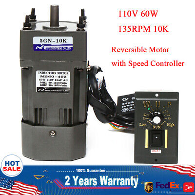110v 60w Ac Gear Motor Electricvariable Speed Reduction Controller 135 Rpm 110