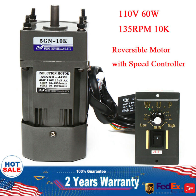 110V 60W AC Gear Motor Electric+Variable Speed Reduction Controller 135 RPM 1:10