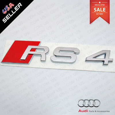 ABS Nameplate Audi RS4 Silver Emblem 3D Trunk Logo Emblem Badge Decoration